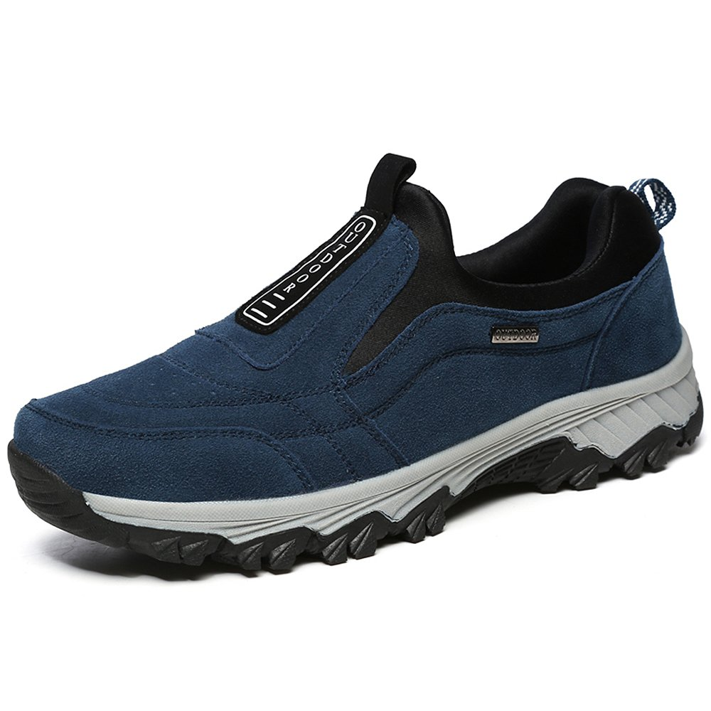 VILOCY Men's Suede Anti-Skid Hiking Shoes Trekking Boots for Outdoor Walking Blue,40