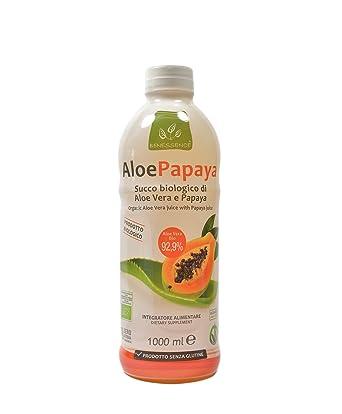 Zumo de beber biológico de Aloe Vera y papaya - 1000 ml