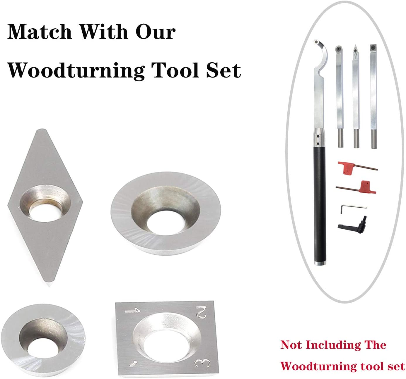 Square 14mm 4pcs Carbide Turning Inserts Cutters Set for Indexable Lathe Turning Tool Holder Insert Replacement of Round 16mm 12mm Fit for AT04 Woodturning Tool Set Diamond 28mm