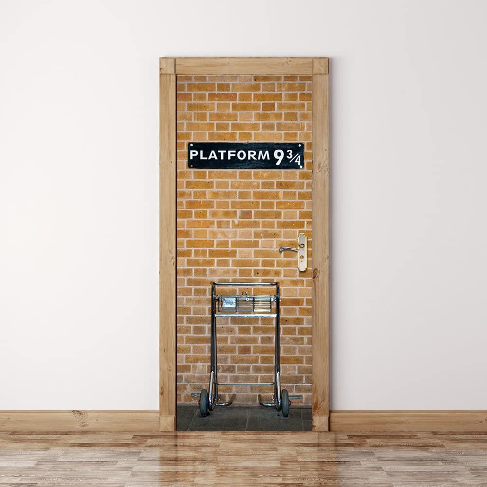 3D Brick Door Mural Platform 9 3/4 Wall Decorative Stickers Self-Adhesive Brick Art Mural Decor Wallpaper Removable Wall Decal Home Decor 32 x 80