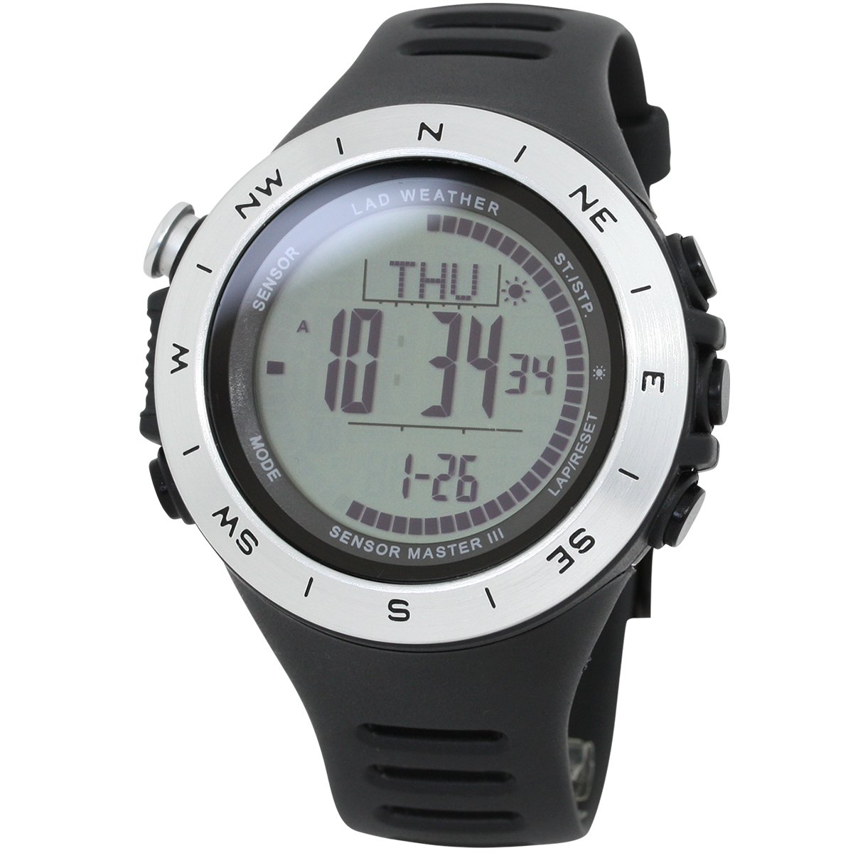 [LAD WEATHER] Swiss sensor Altimeter Barometer Digital Compass Weather Forecast Step/ Mountain data Watches by LAD WEATHER