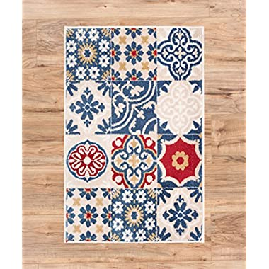 Sahn Mosaic Tiles Beige Multi Red Blue Yellow Vintage Traditional Shabby Chic Geometric Door Mat Accent Small Rug 2x3 ( 1'8  x 2'8  ) Neutral Modern Thick Soft Plush Shed Free