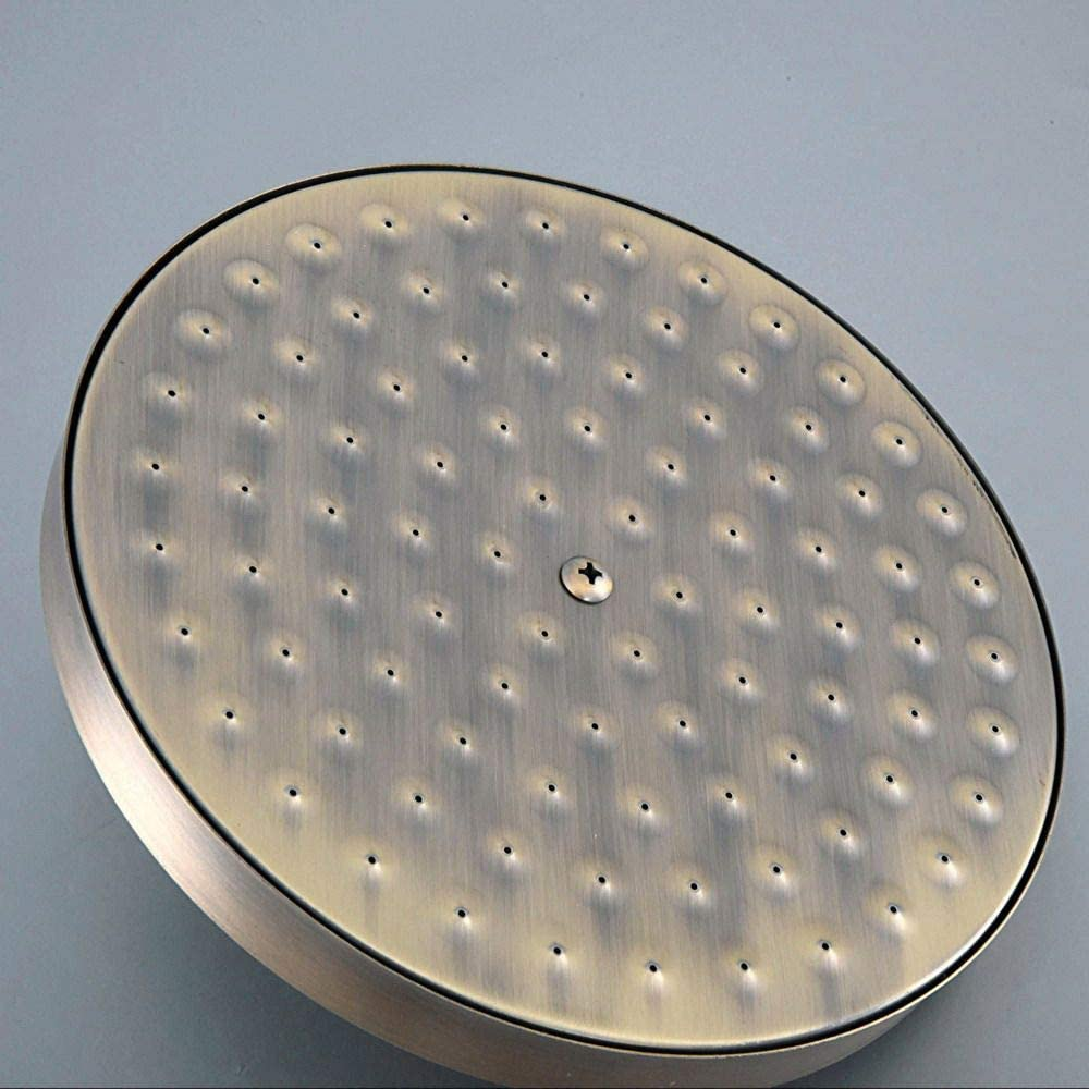 GSPOK Cabezal de Ducha de Lluvia Redondo de Bronce Antiguo Cabezal de Ducha de Lluvia con pulverizador Superior Que Ahorra Agua, A