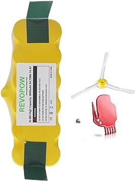 Revopow 3800mAh 14,4V iRobot Roomba Batería de Ni-MH Vida super largo de la batería para la serie iRobot Roomba 500 600 700 800 900 R3 Scooba 450 etc +1 cepillo lateral para(Amarillo):