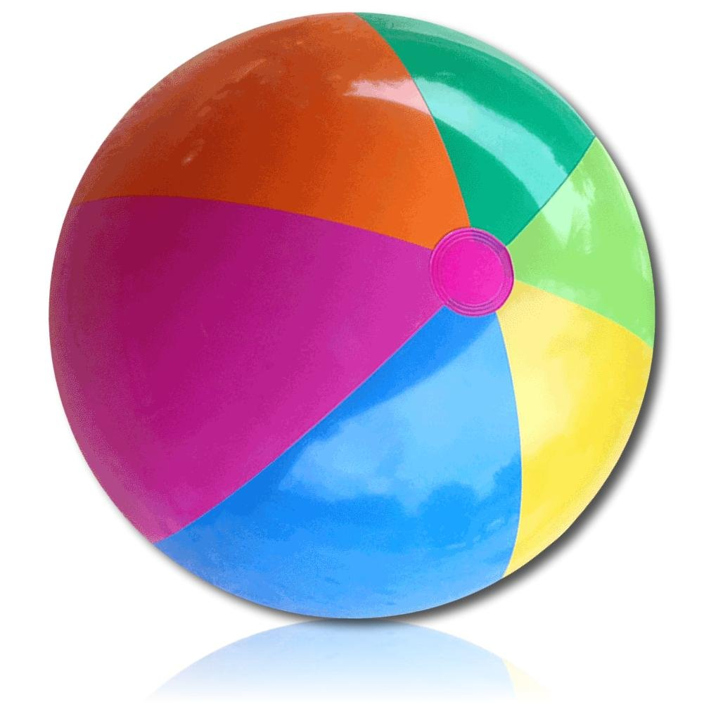 ULTRA Durable & Custom {36'' Inch} 1 Single of Large-Size Inflatable Beach Ball for Summer Fun, Made of Lightweight FLEX-Resin Plastic w/ Retro Thick Alternating Solid Wedge Stripes Style {Multicolor} by mySimple Products