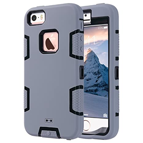 ULAK Caso del iPhone 5S, iPhone SE Funda iPhone 5 Carcasa 3in1 híbrido Combinado híbrido Duro rígido PC + Funda Protectora de Silicona para iPhone SE ...