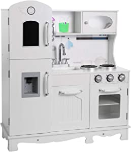 BAHOM Kids Play Kitchen Set for Toddlers Boys Girls, Wooden Chef Pretend Cooking Food Set with Sink, Stovetop, Fridge, Oven, Microwave, Suitable for Age 2 to 6