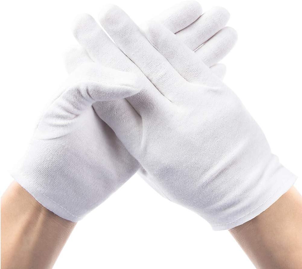 12 pares de guantes de algodón blanco, guantes de algodón para ...
