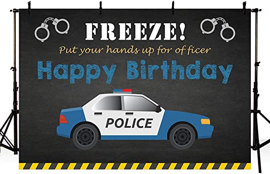MEHOFOTO Police Birthday Party Backdrop Props Policeman Boy Happy Birthday Black and Blue Police Car Photography Background Photo Booth Banner for Cake Table Supplies 7x5ft