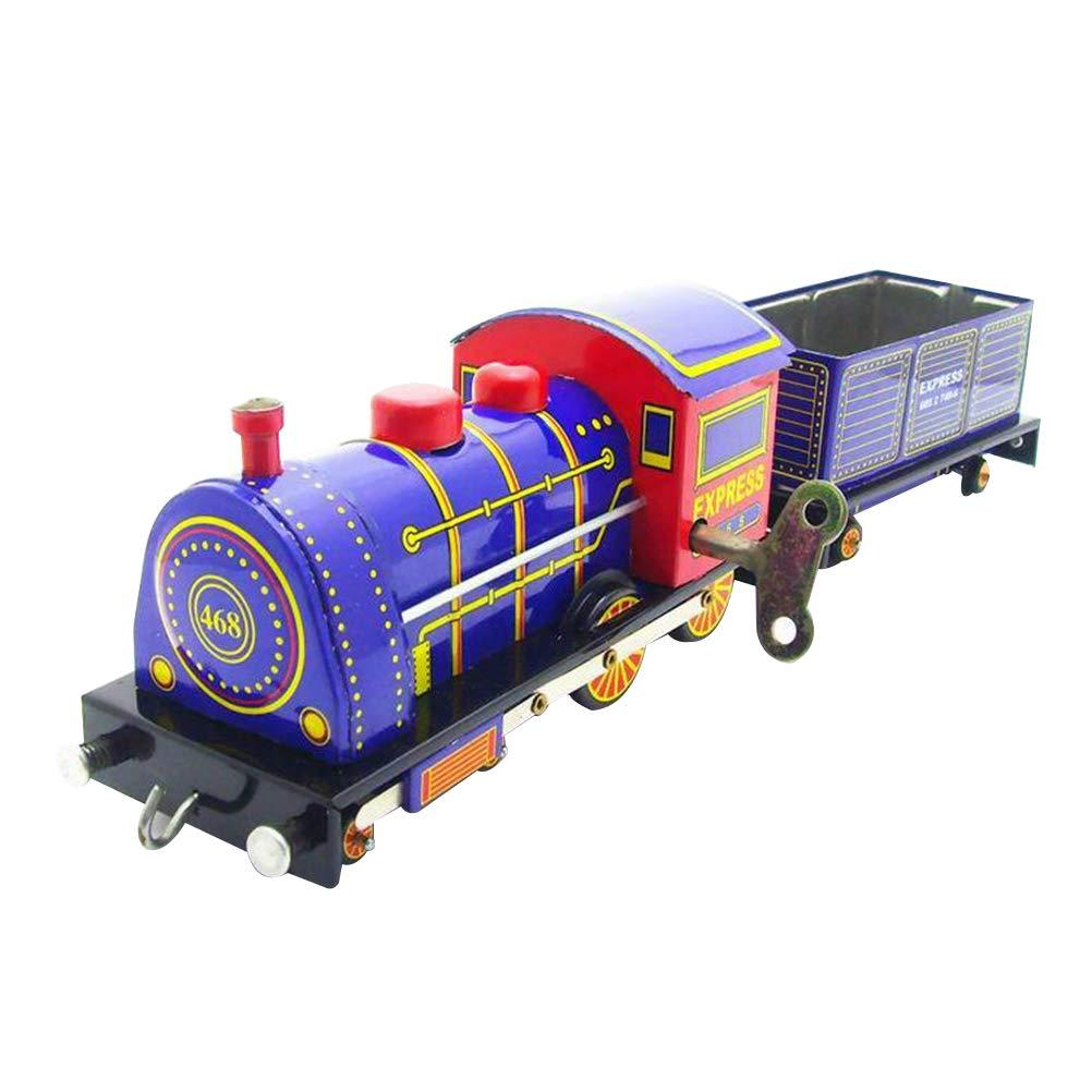 Vosarea Retro Steam Locomotive Model Tin Toy Clockwork Wind up Vintage Collection Toy for Home Living Room Display Theme Shop Decor by Vosarea