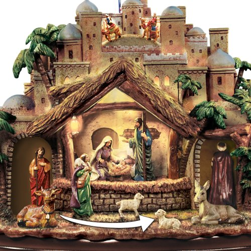 Thomas Kinkade Following the Star Nativity Sculpture Lights As Figures Move and the Musical Nativity Plays 4 Beloved Carols! - By Hawthorne Village by Bradford Exchange (Image #4)