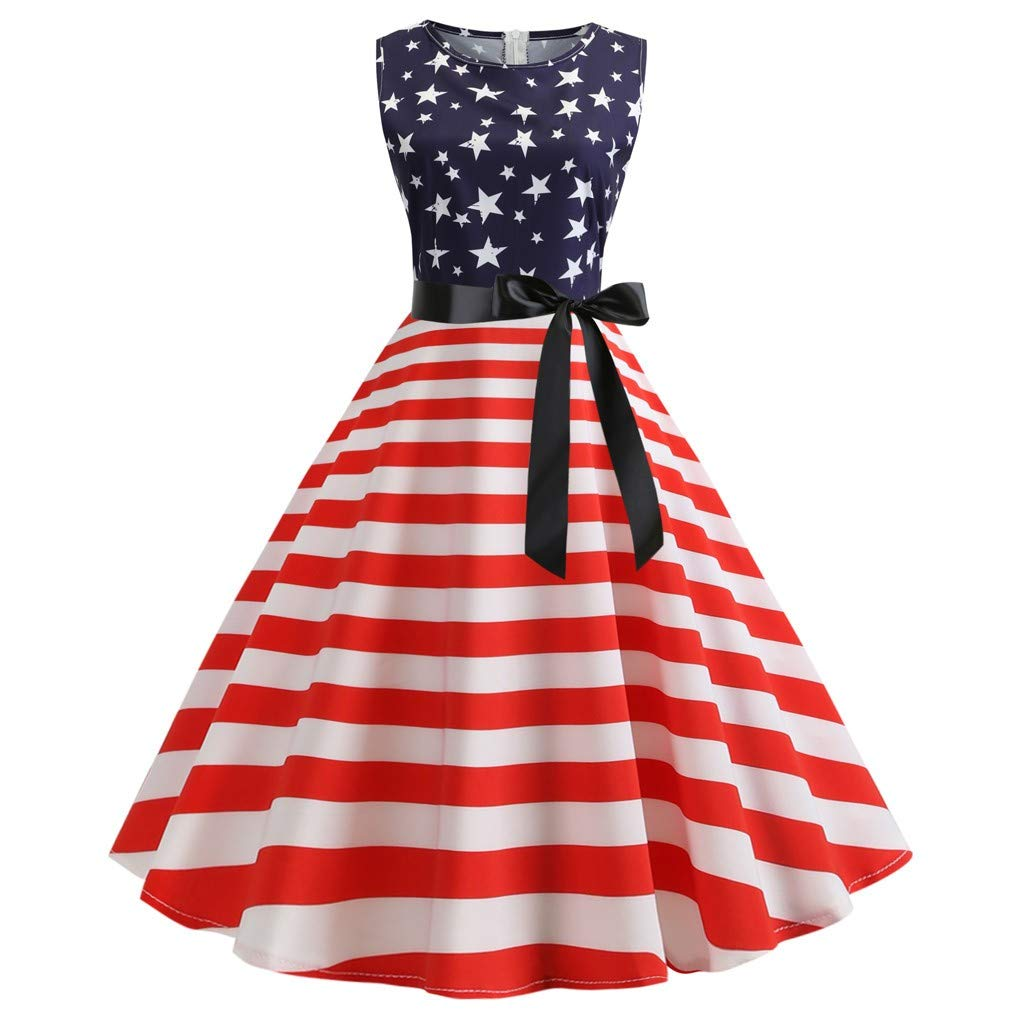 YOCheerful Women Dress Star Stripe Print Evening Party Prom Swing Sleeve Hepburn Dress July 4th Gowns
