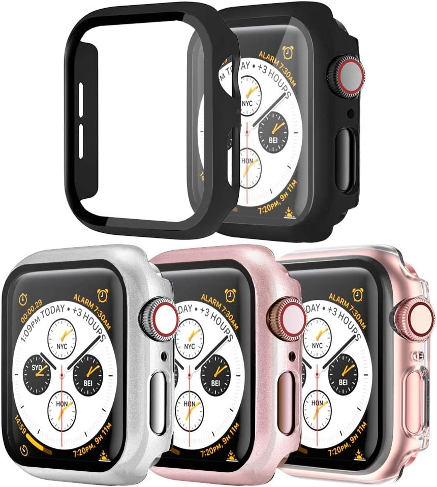 [4 Pack] SUNDO Apple Watch Case Screen Protector Tempered Glass Slim Guard Bumper Full Coverage HD Ultra-Thin Cover Protective Guard Accessories for iWatch Series 6/5/4/SE 44mm