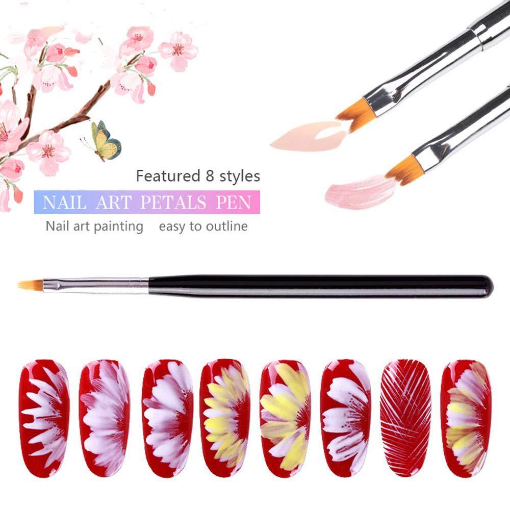 Juego de 8 pinceles 3D para arte de uñas, pinceles de pintura acrílica degradados, para manualidades, diseño de flores y pétalos: Amazon.es: Belleza