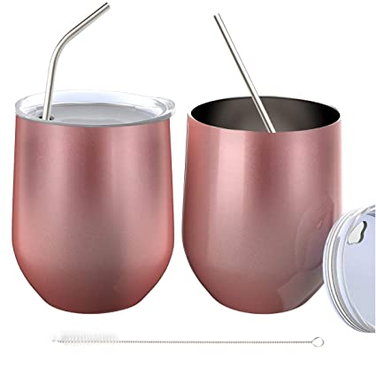 12 oz Double-insulated Wine Tumbler Drinks Rose Gold - 2 Pack Cocktails Christmas Stainless Steel Wine Glass Cup with Lids for Keeping Wine Rose Gold Coffee Champagne Beverage Warm in Winter