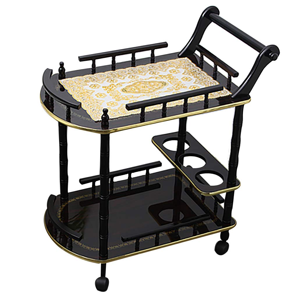 Black+B Service Cart Bar Wine Serving Trolley with 3 Wine Rack,Kitchen Island Storage Trolley 3 Tier Dining Cart with Wheels for Family Hotel Restaurant Upscale Club