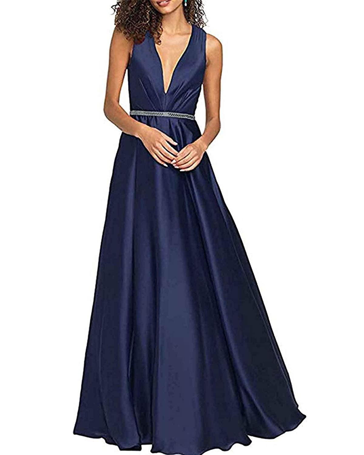Navy bluee WHLWHL ALine VNeck Long Party Prom Gown for Women Formal Evening Dress with Pockets