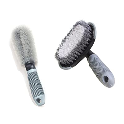 2 Pack Auto Wheel Cleaning Brush Tire Rim Scrub Brush Kit for Auto Motorcycle Car Bike Wheel Cleaning Tool: Automotive