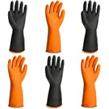 Chemical Gloves, 3 Pairs EnPoint 13.7 Inches Heavy Duty Latex Gloves Resist Strong Acid Alkali and Oil Proof Gloves for Chemi