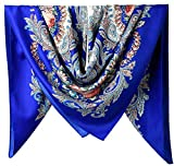 40'' Women Twill Satin Polyester Silk Feeling Square Hair Wrapping Sleeping Square Scarfs Persian Blue Flowers Pattern