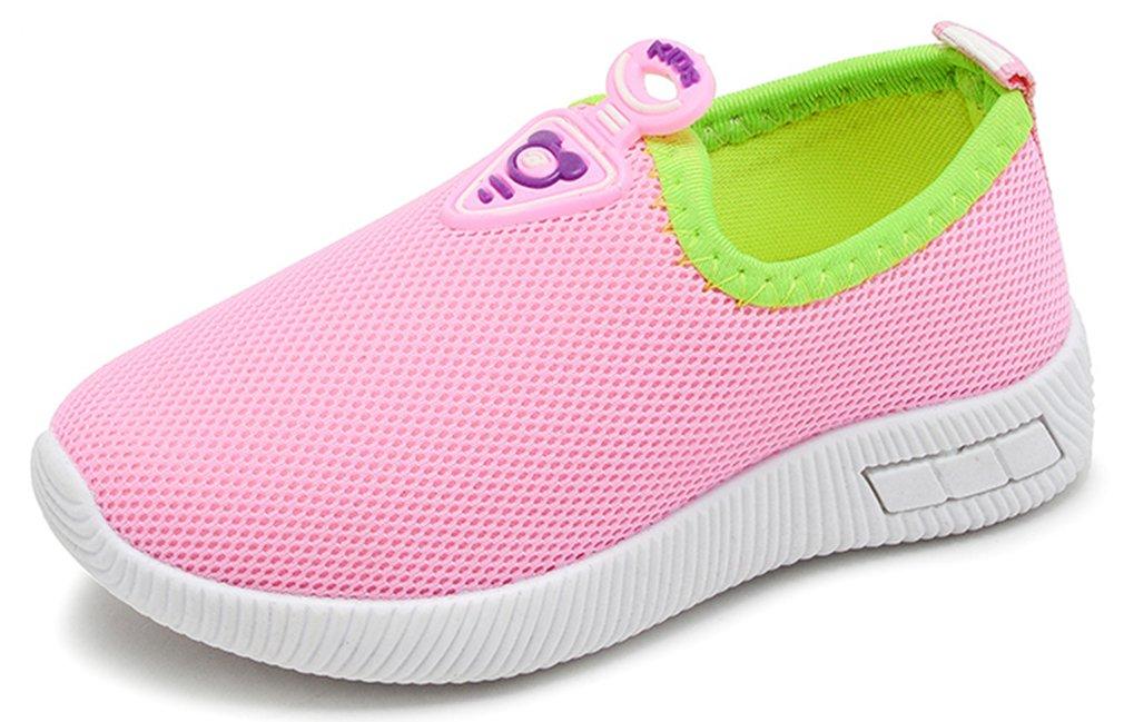 VECJUNIA Boy's Girl's Stylish Breathable Antiskid Mesh Summer Spring Slip on Loafers (Pink, 7 M US Toddler)