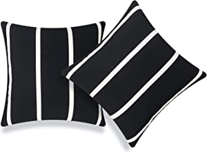 Hofdeco Patio Indoor Outdoor Pillow Cover ONLY for Backyard, Couch, Sofa, Black Wide Striped, 20