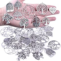 BronaGrand 40Pcs Tree of Life Charms Pendents Jewelry Findings for DIY Bracelet Necklace Earrings Antique Silver(10 Styles,140g )
