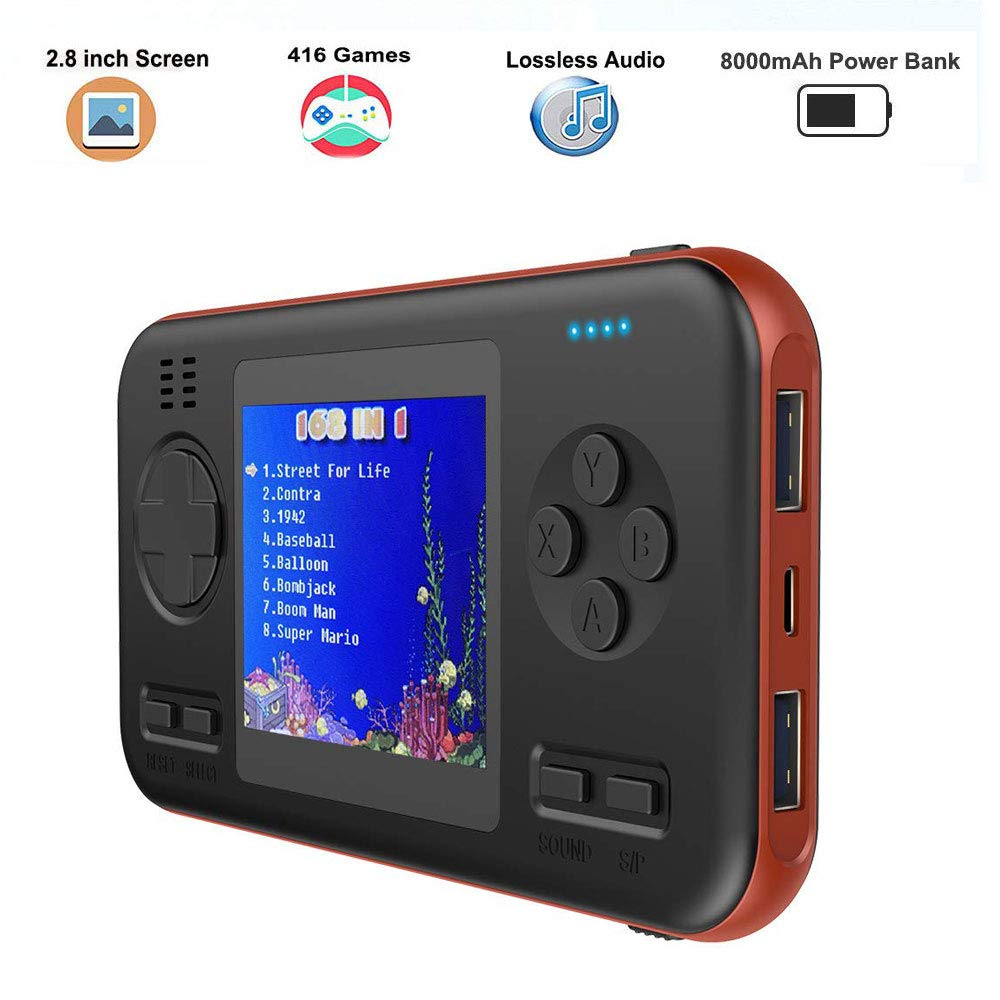 Peedeu Retro Game Console Power Bank,2.8 Inch Handheld Game Console,Mini Video FC PVP Game Player Gameboy 416 Games Travel Portable Gaming System Built-in 8000mah Battery USB C Fast Charging Type C by Peedeu (Image #1)