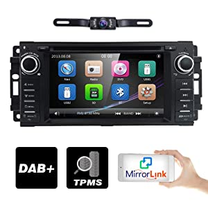 "Hizpo Car Stereo GPS DVD Player for Dodge Ram Challenger Jeep Wrangler JK Head Unit Single Din 6.2"" Touch Screen Indash Radio Receiver with Navigation Bluetooth/3G"