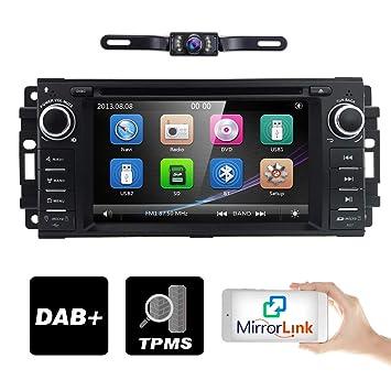 Hizpo - Reproductor de DVD estéreo GPS para Coche para Dodge Ram Challenger Jeep Wrangler JK