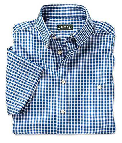 free Summer Short-sleeved Check Shirt, Blue Check, Large (Wrinkle Free Pure Cotton Shirt)