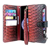Cheap Galaxy S9 Plus Case, Lacass Premium Leather Flip Wallet Case Cover with Stand Feature & Card Holder & Wrist Strap for Samsung Galaxy S9 Plus (2018) Wine