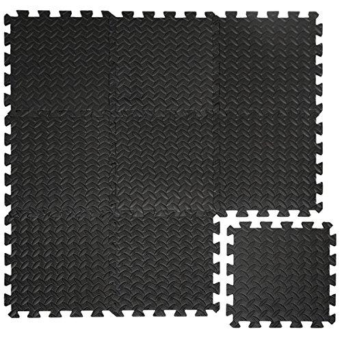 eyepower Protections Sol en mousse EVA 10mm d'épaisseur Tapis Puzzle de Fitness sport composé de 9 fragments dimension globale 0,81qm extensible Noir