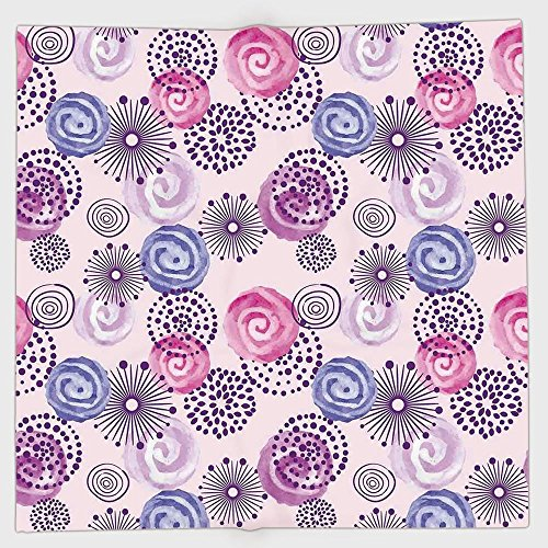 Spiral Hat Witch Pink - iPrint Polyester Bandana Headband Scarves Headwrap,Purple,Watercolor Style Floral Fireworks Blooming Flowers Abstract Spiral Doodle Spots Art,Blue Pink,for Women Men
