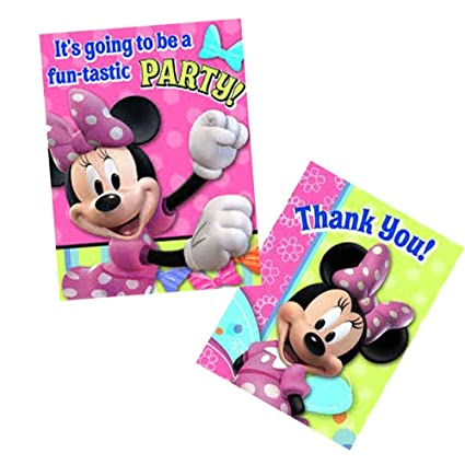 amazon com disney bow tique minnie mouse party invitations and