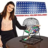 """Professional Bingo Set with 19"""" Cage, 1.5"""" Balls and Heavy Wooden ball holder kit"""