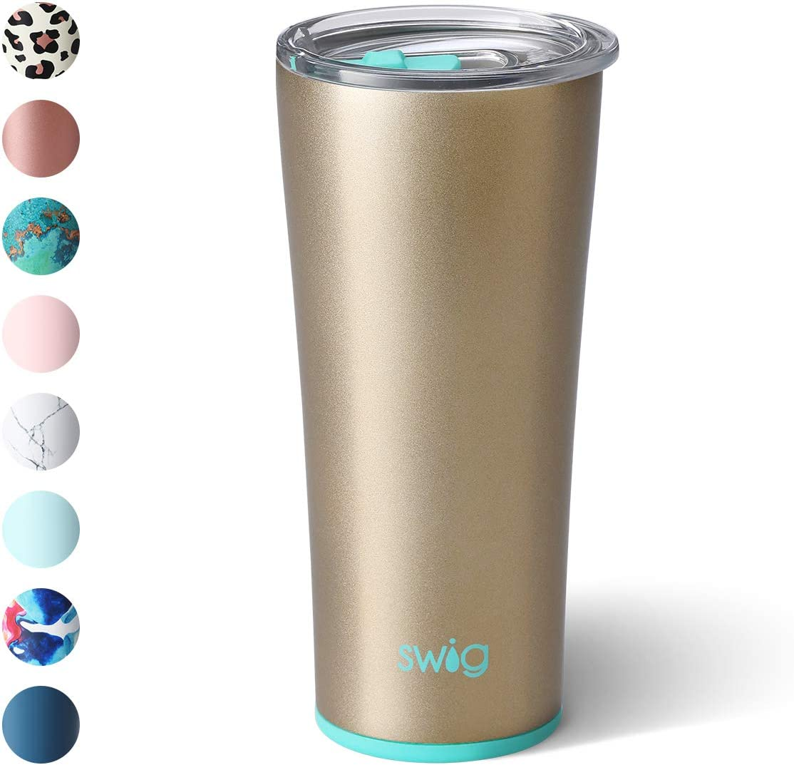 Swig Life 22oz Triple Insulated Stainless Steel Skinny Tumbler with Lid, Dishwasher Safe, Double Wall, and Vacuum Sealed Travel Coffee Tumbler in our Champagne Pattern (Multiple Patterns Available)