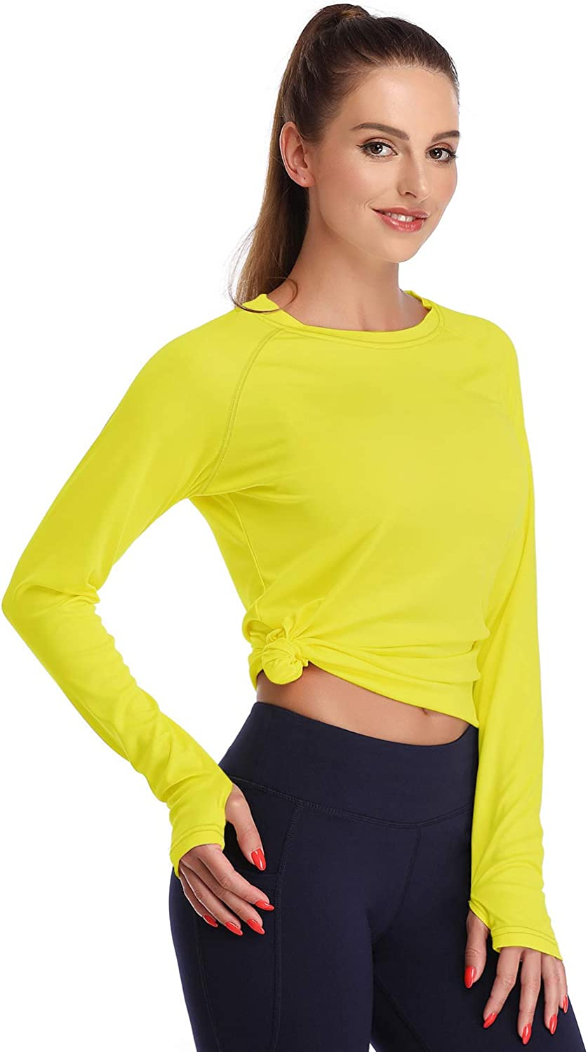DAYOUNG Womens UPF 50+ UV Sun Protection Long Sleeve T-Shirt Running Hiking Outdoors Performance Athletic Top Thumb Hole: Clothing