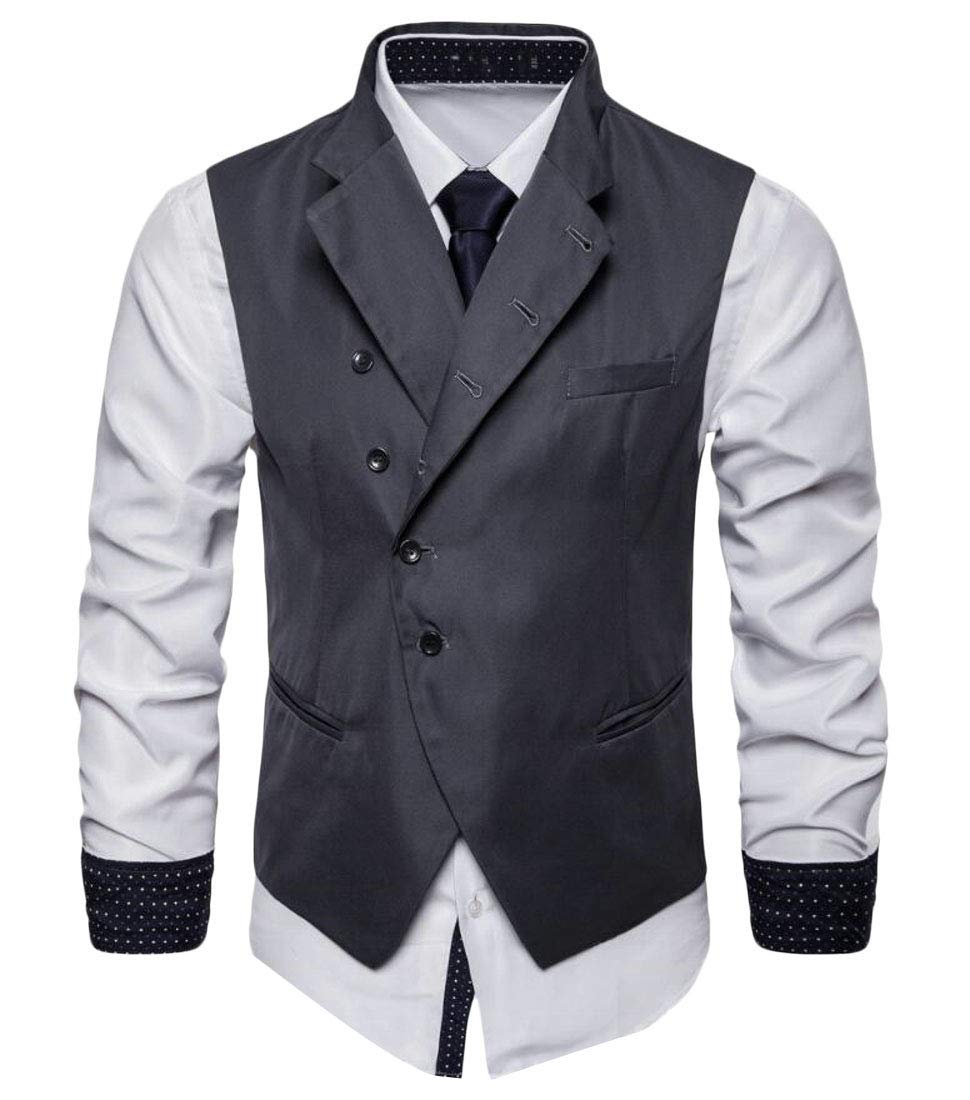 Domple Men Lapel Waistcoat Single-Breasted Business Suit Dress Vest Coat Deep Gray XS