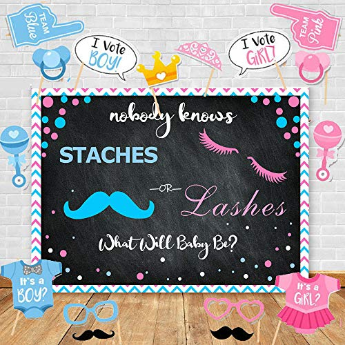 - Art Studio Lashes or Staches Gender Reveal Themed Photography Backdrops and Studio Props DIY Kit.Girl or Boy Pregnancy Party Decor Pink Blue Baby Shower Photo Chalkboard Background Studio Props Vinyl