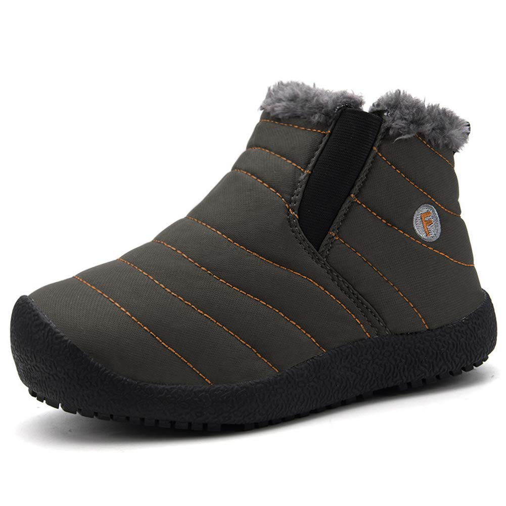 CIOR Boy's Girl's Snow Boots Fur Lined Winter Outdoor Slip On Shoes Boots-T.grey-34