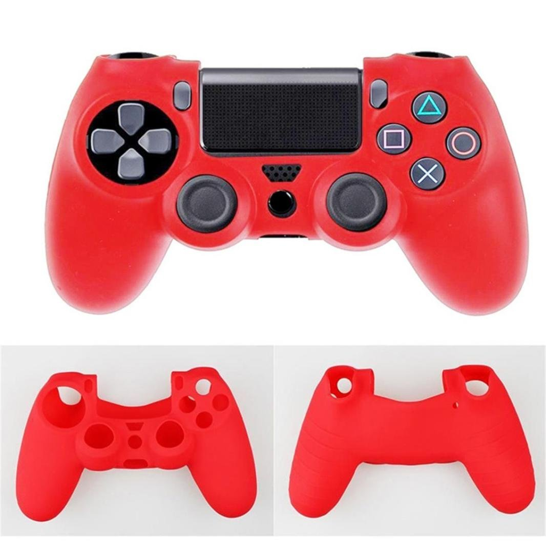 Coohole Fashion Cool Game Soft Camouflage Silicone Case Cover For Playstation PS4 Controller (for Playstation PS4 Controller, Red 2)