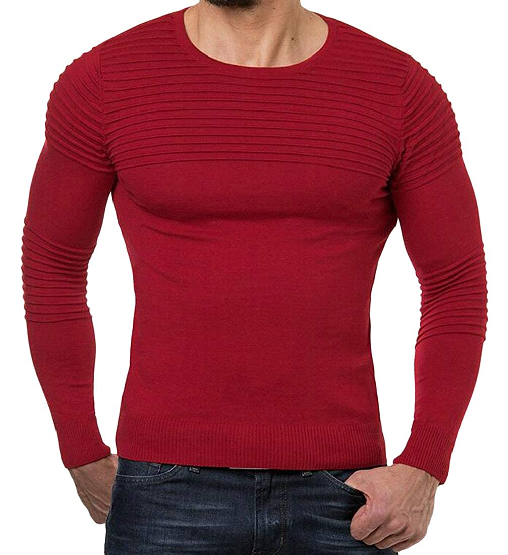 Spirio Mens Basic Pleated Round Neck Knitwear Long Sleeve Pullover Sweater