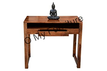 O My Furniture Sheesham Wood Study Table with One Drawer in Teak Finish | Study Room Student Table | Office Table for Books, PC, Laptop