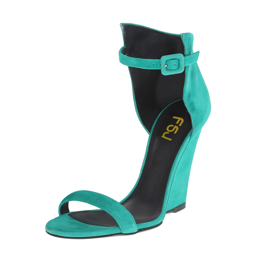 FSJ Women Open Toe Wedge Sandals Ankle Strap Faux Suede High Heels Evening Club Shoes Size 4-15 US B0746HL3VK 12 B(M) US|Turquoise