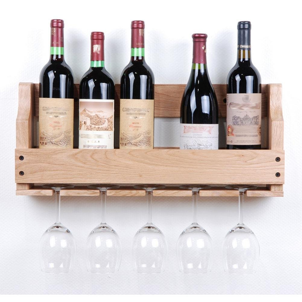 Z&YQ Porte-bouteilles en bois massif Tenture murale Tasse suspendue Hanging Oak Family Bar Wine Rack  - B