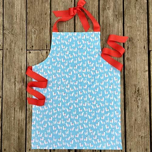Blue Llama Girls Apron Gift for Kitchen Crafts Art Baking from Sara Sews