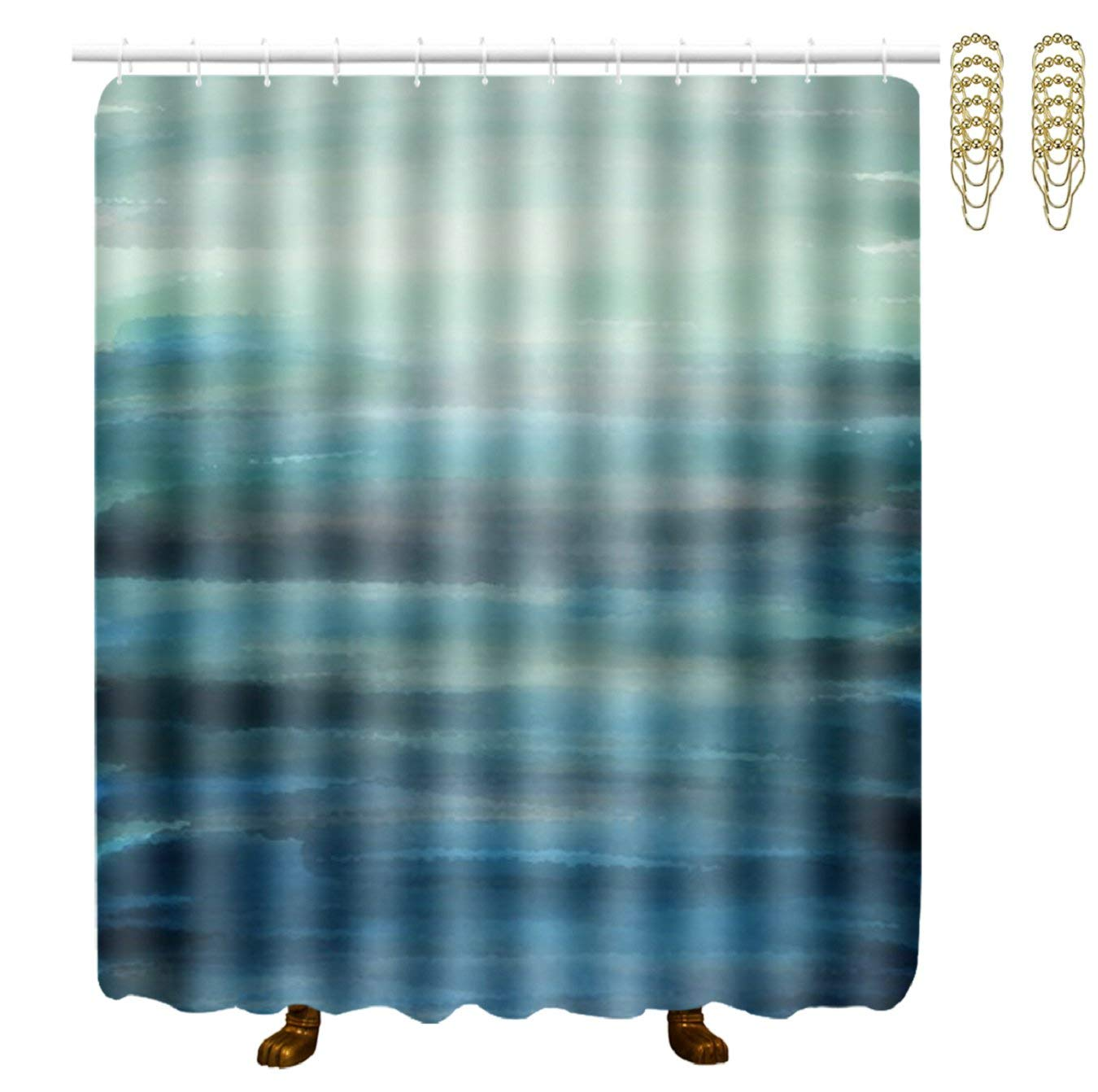 ESTLISS Aqua Teal Blue Sea Ocean Ombre Fabric Shower Curtain Bath Curtains - 70x70 inches Eco-Friendly Waterproof Bathroom Curtain, Bathroom Accessories Ideas Kitchen Window Curtain