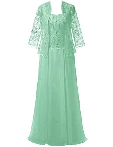 ModeC Long Chiffon Lace Mother of the Bride Dress Formal Gowns with Jacket