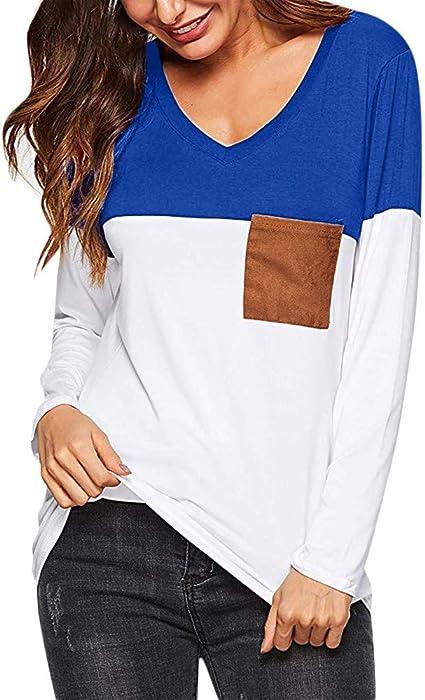 Mujer Camiseta con Mangas Largas Cuello V Camisa Botón Blusa Jumper Pullover Sudadera Remata T-Shirt